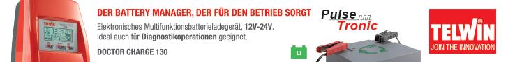 Multifunktions- elektronisches Batterieladegerät (BATTERY MANAGER) für die komplette Wartung der Batterietypen WET, GEL, AGM, MF, PbCa, EFB und Li mit 12/24V sowie für arbeitsunterstützende Funktionen bei Arbeiten am Fahrzeug, die in Werkstätten und bei Vertragshändlern ausgeführt werden. <br>Die innovative Power Stream Technologie garantiert im Vergleich zu traditionellen Batterieladegeräten bis zu 50% höhere Leistungen. <br>Die Pulse Tronic Technologie garantiert in 8 Phasen die optimale Batterieladung. <br>Doctor Charge 130 übt 5 Funktionen aus: <br>1. Automatisches Laden und Erhaltungsladen der Batterien mit Technologie PULSE TRONIC auch unter schwierigen Umgebungsbedingungen (niedrige Temperaturen); <br>2. Batterietest beispielsweise zur Feststellung der an den Klemmen anliegenden Spannung oder der Startleistung (CCA) sowie Überprüfung der fahrzeugeigenen Drehstromlichtmaschine auf Funktionstüchtigkeit; <br>3. Instandsetzung sulfatierter oder stark entladener Batterien und Wiederherstellung des optimalen Funktionszustandes mit regelmäßigem Nachladen; <br>4. Geregelte Spannungsquelle, die bei Batteriewechseln (zum Schutz der Bordelektronik) und für Diagnosetätigkeiten eingesetzt wird. Außerdem hält sie die Batterien von in Ausstellungsräumen stehenden Vorführwagen funktionstüchtig; <br> 5. Start von Fahrzeugen. <br>Mit SMPS (Switch Mode Power Supply) Technologie. Bei Stromausfällen oder repetitivem Gebrauch arbeitet es mit den zuletzt getätigten Einstellungen. Mehrere Schutz vorhanden. <br>Mit PFC Vorrichtung.